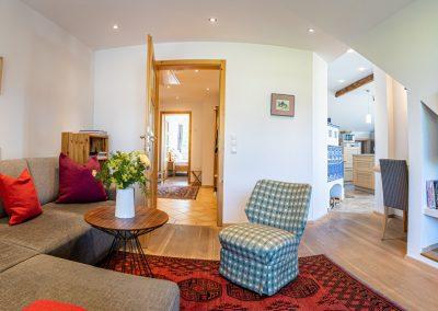 Ferienwohnung in Obersdorf -Wohnzimmer mit Blick zum Flur